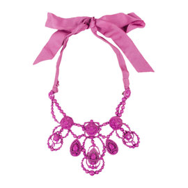 Lanvin x H & M Silver Tone Hardware Dark Pink Beaded Ribbon Tie Bib Necklace