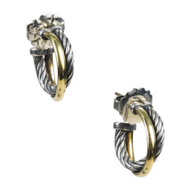 David Yurman 925 Sterling Silver and 18K Yellow Gold Crossover Hoop Earrings