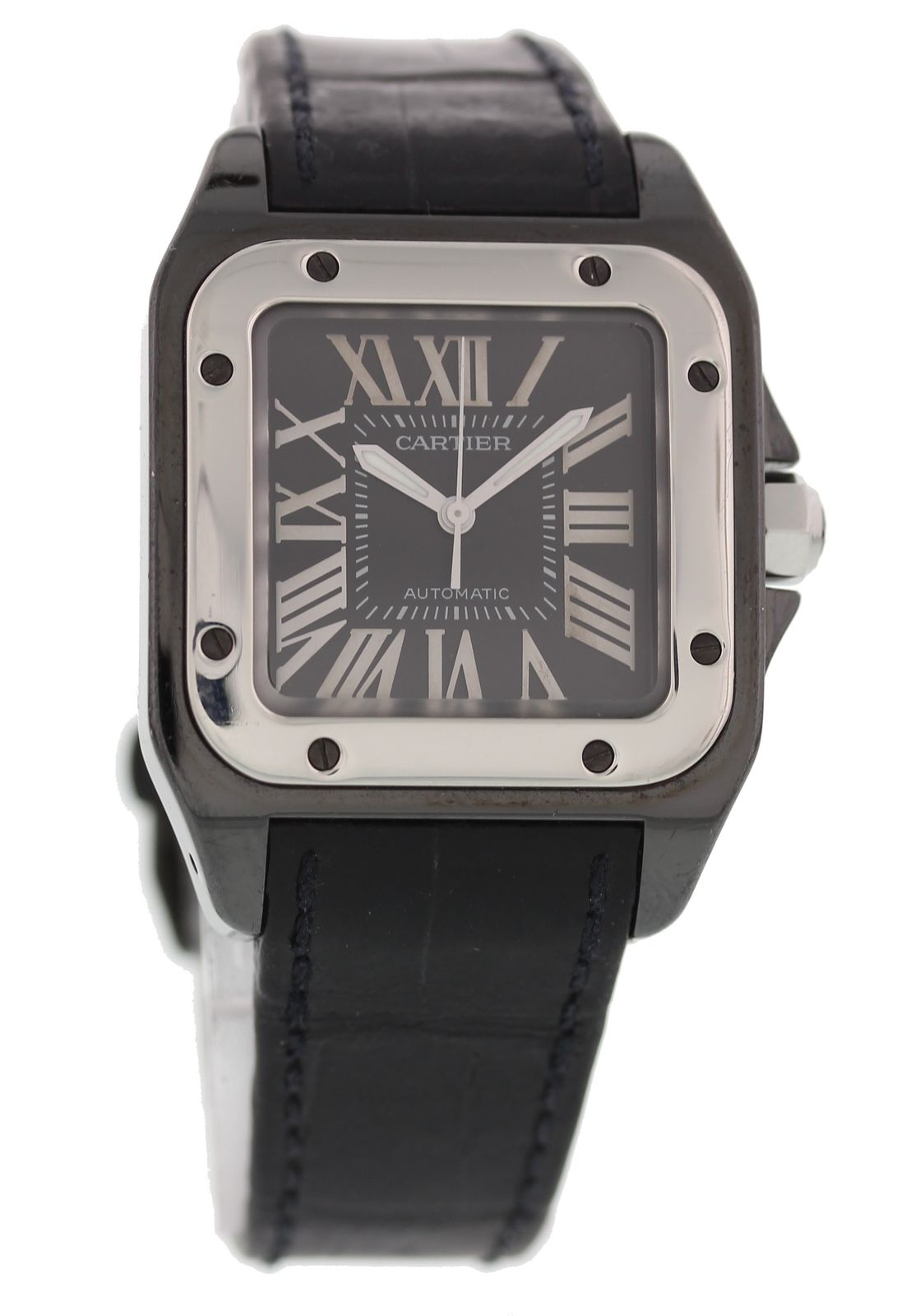 "Image of ""Cartier Santos 100 2878 Stainless Steel & Leather Automatic 33mm"""