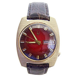 Accutron by Bulova 14K Yellow Gold & Red Dial 34.5mm Mens Watch Year 1967