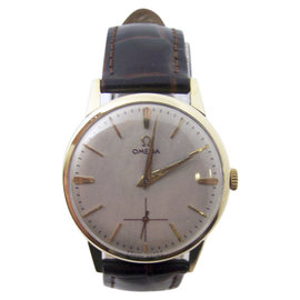 Omega 14K Yellow Gold / Leather Vintage 34.5mm Mens Watch