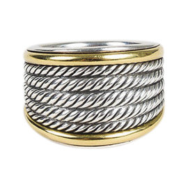 David Yurman 925 Sterling Silver and 18K Yellow Gold Cable Ring Size 6