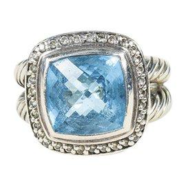 David Yurman 925 Sterling Silver with Blue Topaz and Diamond