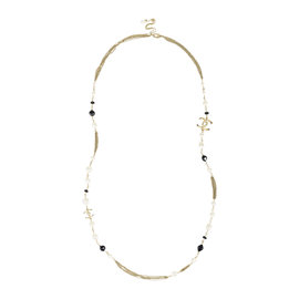 Chanel Summer 'CC' Gold Tone Hardware with Faux Pearl Beaded Glitter Chain Necklace