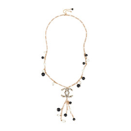 Chanel 'CC' Gold Tone Hardware with Faux Pearl and Acrylic Beaded Pendant Necklace