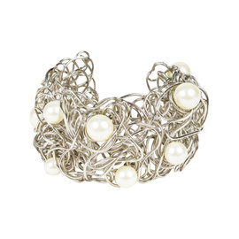 Chanel Silver Tone Metal with Faux Pearl Wire Cuff Bracelet