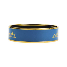Hermes Gold Tone Hardware with Blue Enamel Print Wide