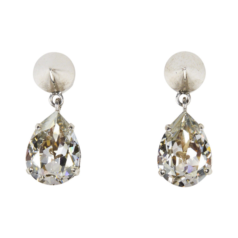 "Image of ""Givenchy Silver Tone Hardware with Crystal Spiked Drop Earrings"""