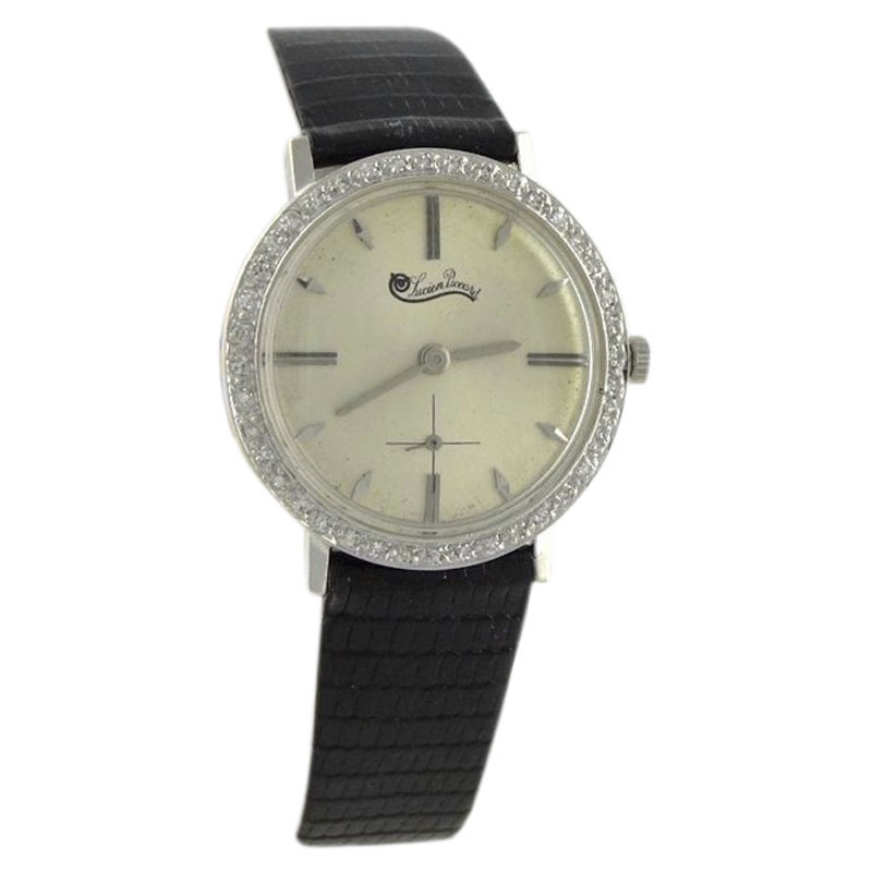 "Image of ""Lucien Piccard 14K White Gold / Leather Vintage 33mm Mens Watch"""