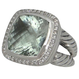 David Yurman Albion 925 Sterling Silver 0.50ct. Diamond Green Prasiolite Cable Ring Size 7.25