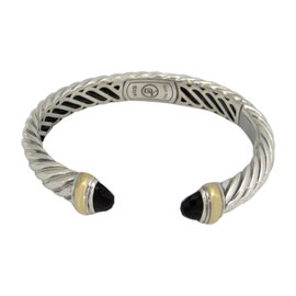 David Yurman 925 Sterling Silver & 18K Yellow Gold Silver Black Onyx Waverly Cable Cuff Bracelet