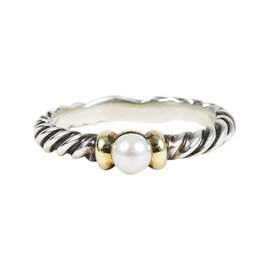 David Yurman Sterling Silver & 14K Yellow Gold & Pearl Cable Ring Size 7