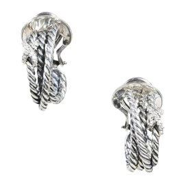 David Yurman 925 Sterling Silver & Diamond Cabled Crossover Hoop Earrings