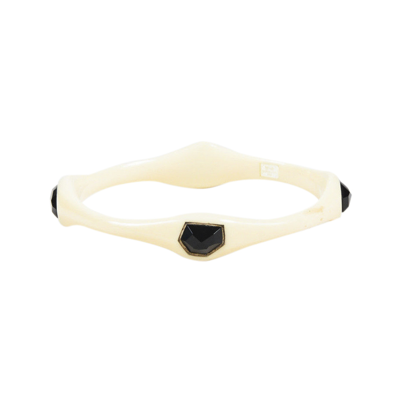 "Image of ""Ippolita 925 Sterling Silver/Cream Resin & Onyx Bangle Bracelet"""