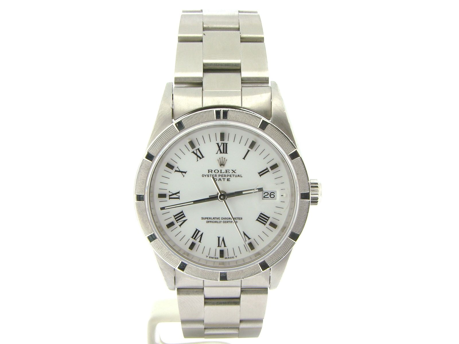 """Image of """"Rolex Date 15210 Stainless Steel & White Roman Dial 34mm Mens Watch"""""""