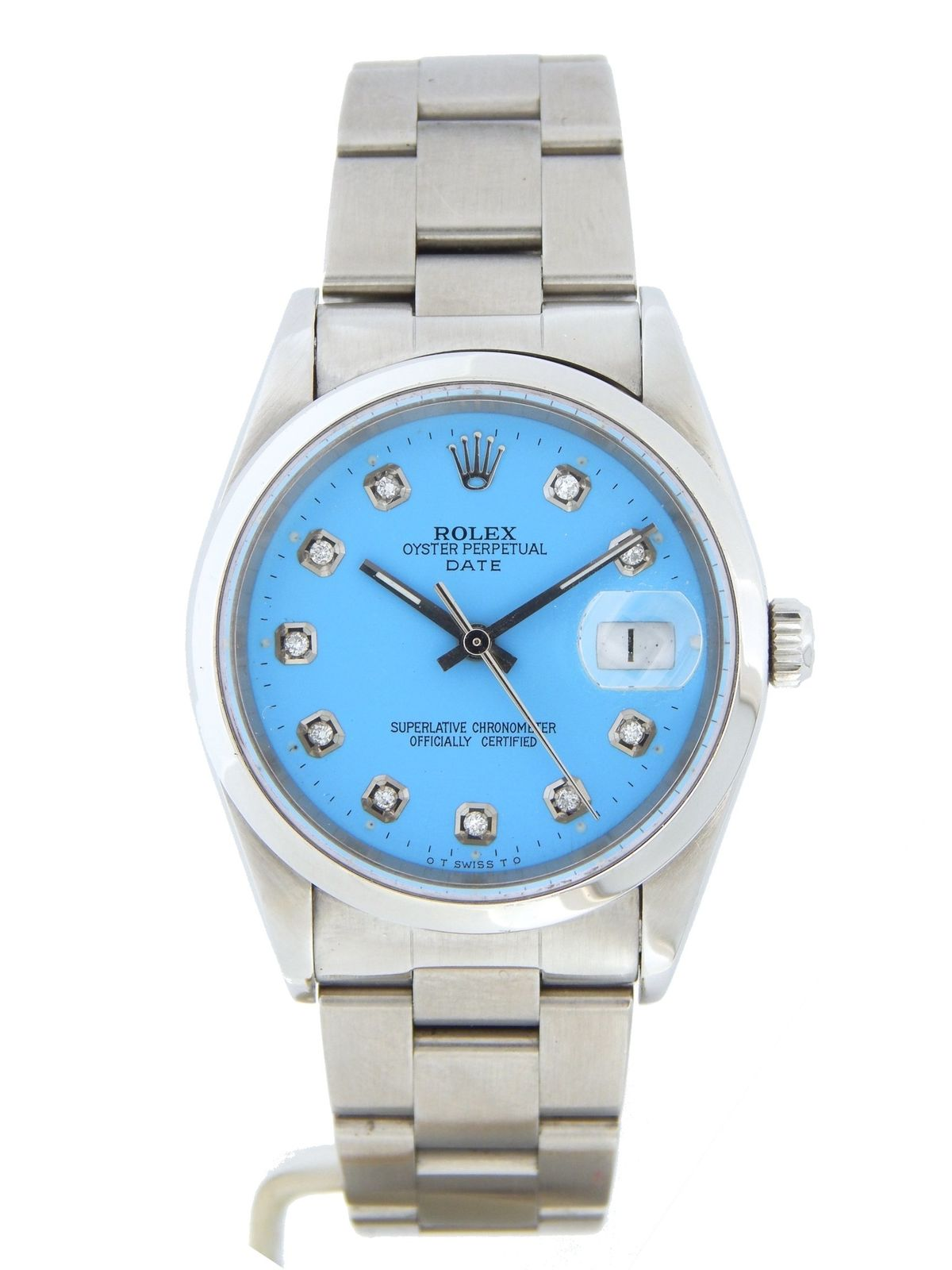 """Image of """"Rolex Date 15200 Stainless Steel & Blue Diamond Dial 34mm Mens Watch"""""""
