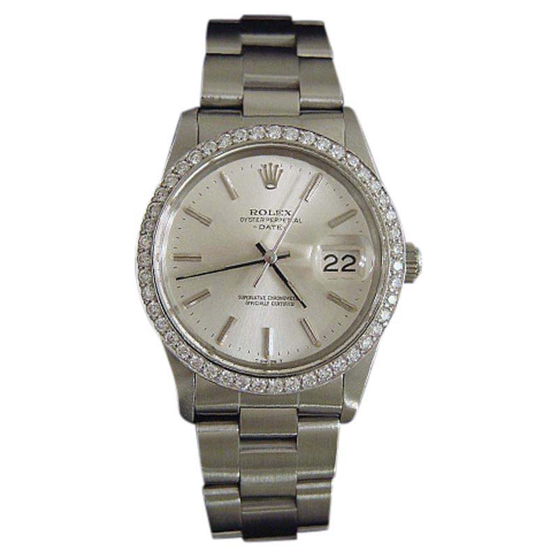 """Image of """"Rolex Date 15000 Stainless Steel & Silver Dial 34mm Mens Watch"""""""