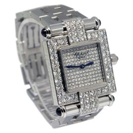 Chopard Imperiale 38/3448-23 18K White Gold Diamond & Sapphire 26mm Womens Watch