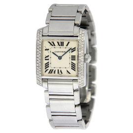 Cartier Tank Francaise 2301 Stainless Steel & Diamond Quartz 25mm Unisex Watch