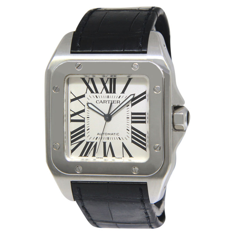 "Image of ""Cartier Santos 100 2656 Stainless Steel & Leather Automatic 38mm Mens"""