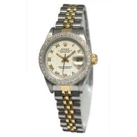 Rolex Datejust 69173 14K Yellow Gold / Stainless Steel with Pyramid Dial Vintage 26mm Womens Watch