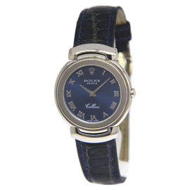 Rolex Cellini 6622 18K White Gold with Blue Dial Quartz 33mm Mens Watch