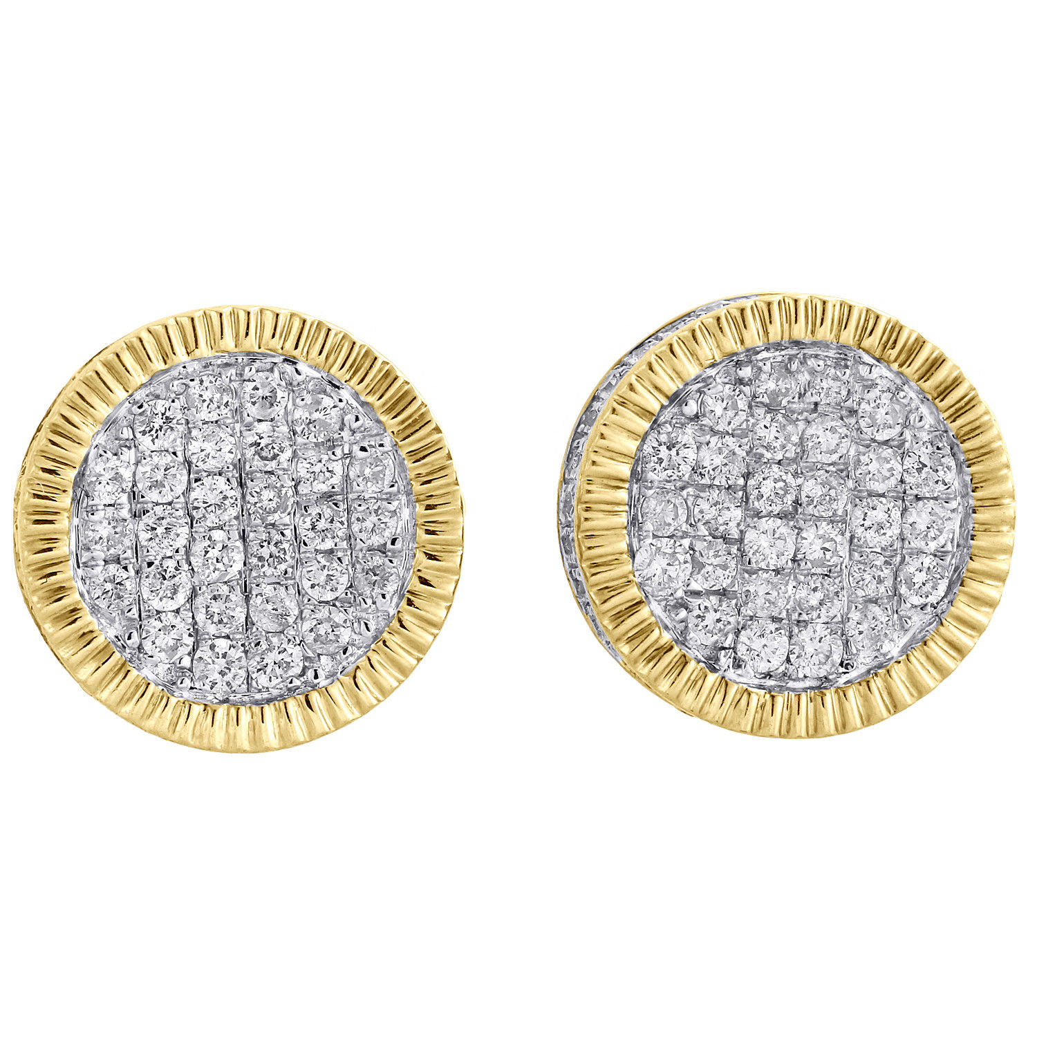 "Image of ""10K Yellow Gold with 0.88ct Diamond Cluster Studs Pave Earrings"""