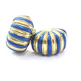 Cartier 18K Yellow Gold with Blue Enamel Huggie Clip on Earrings