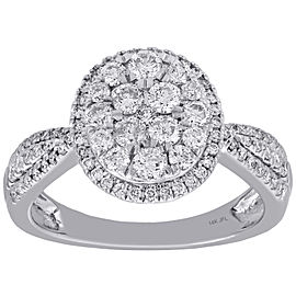 14K White Gold with 1.00ct Diamond Cluster Oval Halo Flower Engagement Ring Size 7