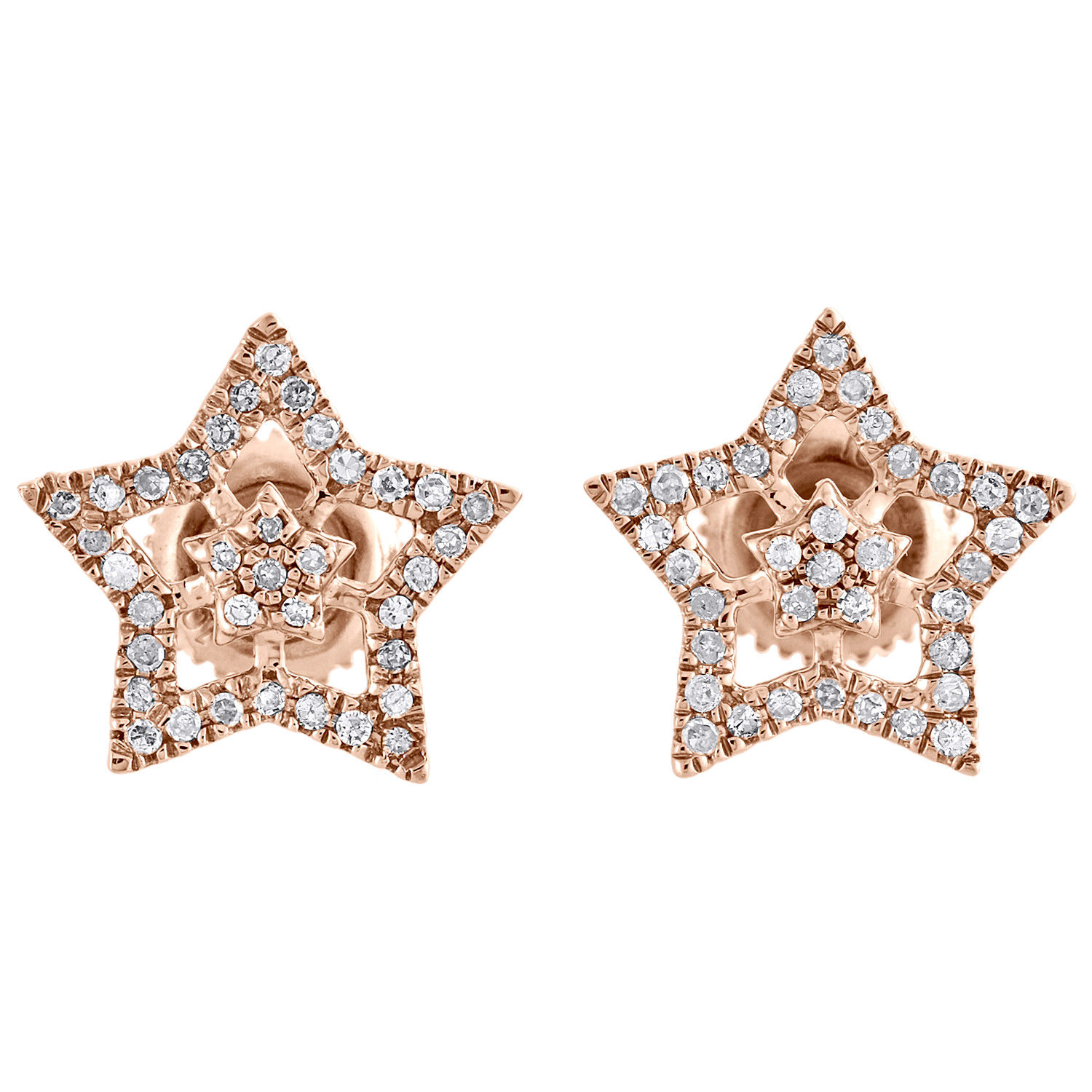 "Image of ""10K Rose Gold 0.20ct Diamond Star Studs Double Frame Pave Earrings"""