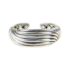 David Yurman 925 Sterling Silver Hinged Sculpted Cable Cuff Bracelet