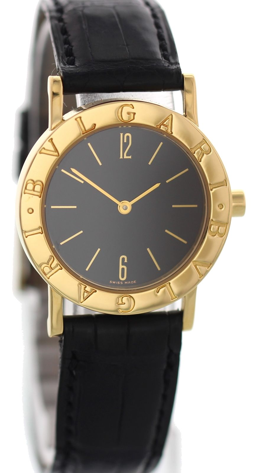 "Image of ""Bulgari BB 30 GL 18K Yellow Gold & Leather Quartz 30mm Womens Watch"""