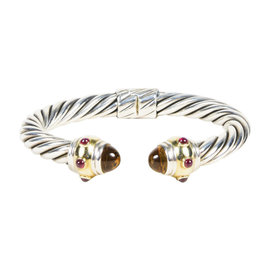 David Yurman 925 Sterling Silver and 14K Yellow Gold with Citrine and Rhodalite Bracelet