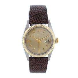 Rolex Datejust 1601 Stainless Steel/18K Yellow Gold & Leather Automatic Vintage 36mm Mens Watch