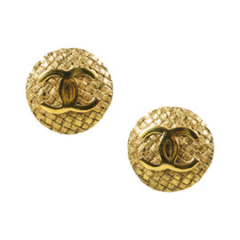 Vintage Chanel Gold Tone Hardware 'CC' Woven Clip On Earrings
