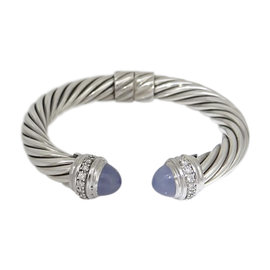 David Yurman 925 Sterling Silver with Diamond & Chalcedony Cable Hinge Cuff Bracelet