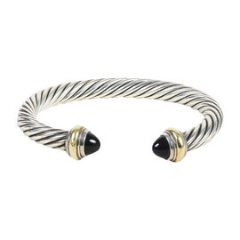 David Yurman Sterling Silver and 14K Yellow Gold Onyx Cable Classic Bracelet