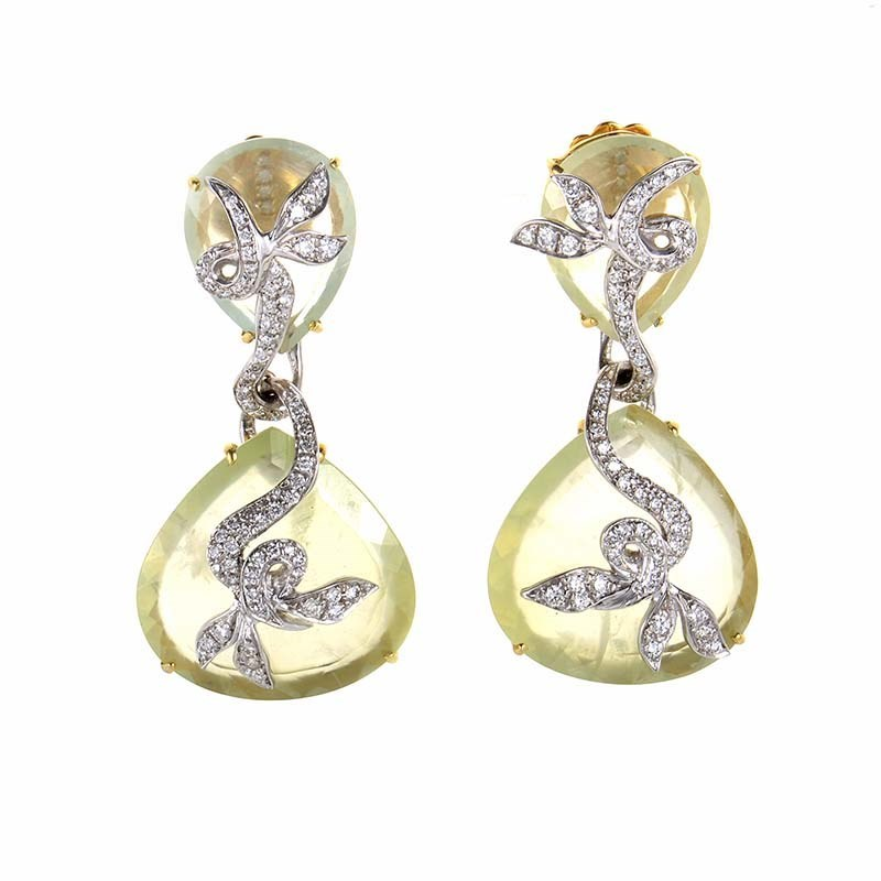 "Image of ""18K Multi Gold Green Quartz & Diamond Earrings"""