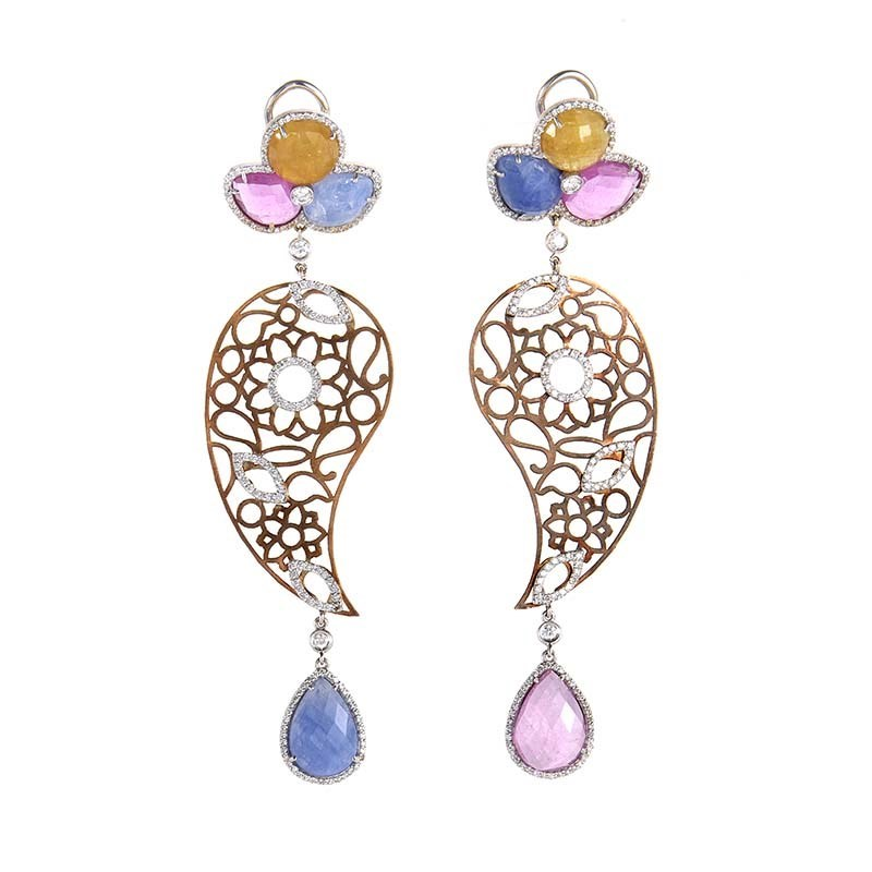 "Image of ""Leaderline 18k Rose and White Gold Sapphire & Diamond Drop Earrings"""