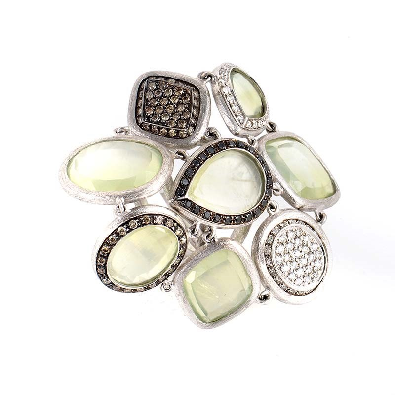 "Image of ""18K White Gold Green Quartz & Multi Diamond Ring Size 6.75"""