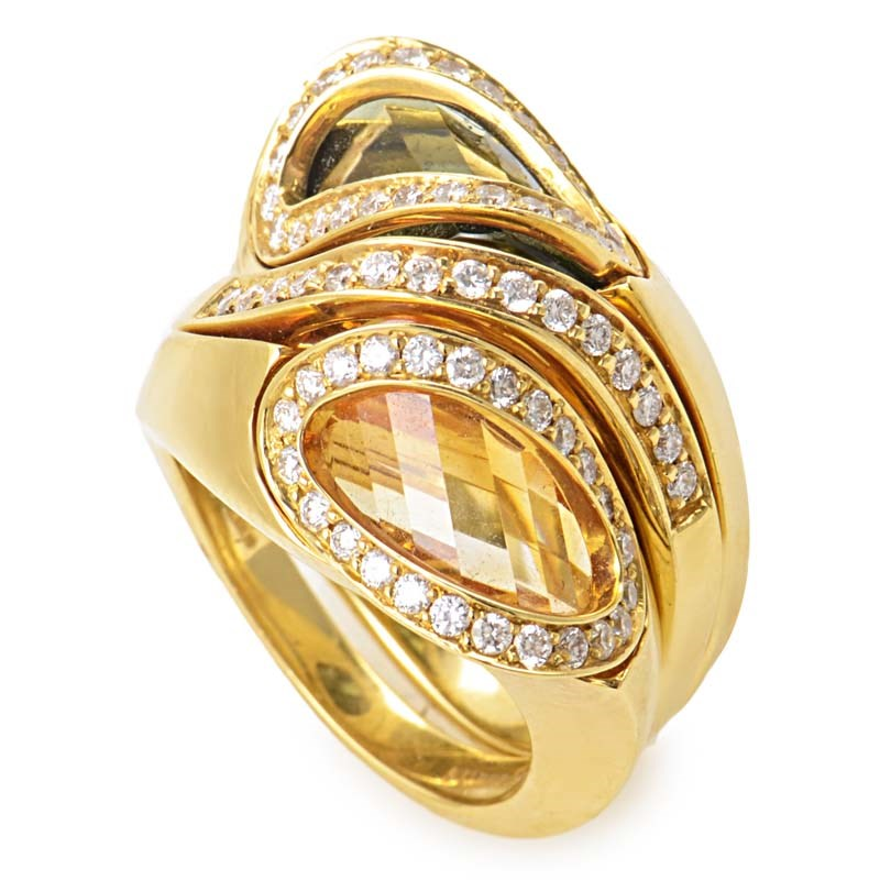 "Image of ""18K Yellow Gold Diamond Smoky Topaz & Citrine Ring Size 6.75"""