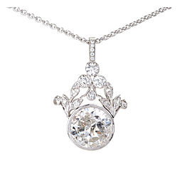 Platinum Diamond Grey Pendant Necklace
