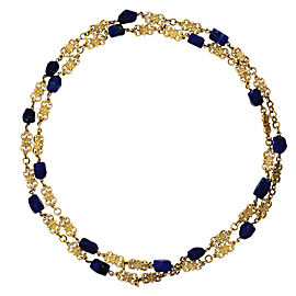 18K Yellow Gold and Lapis Necklace