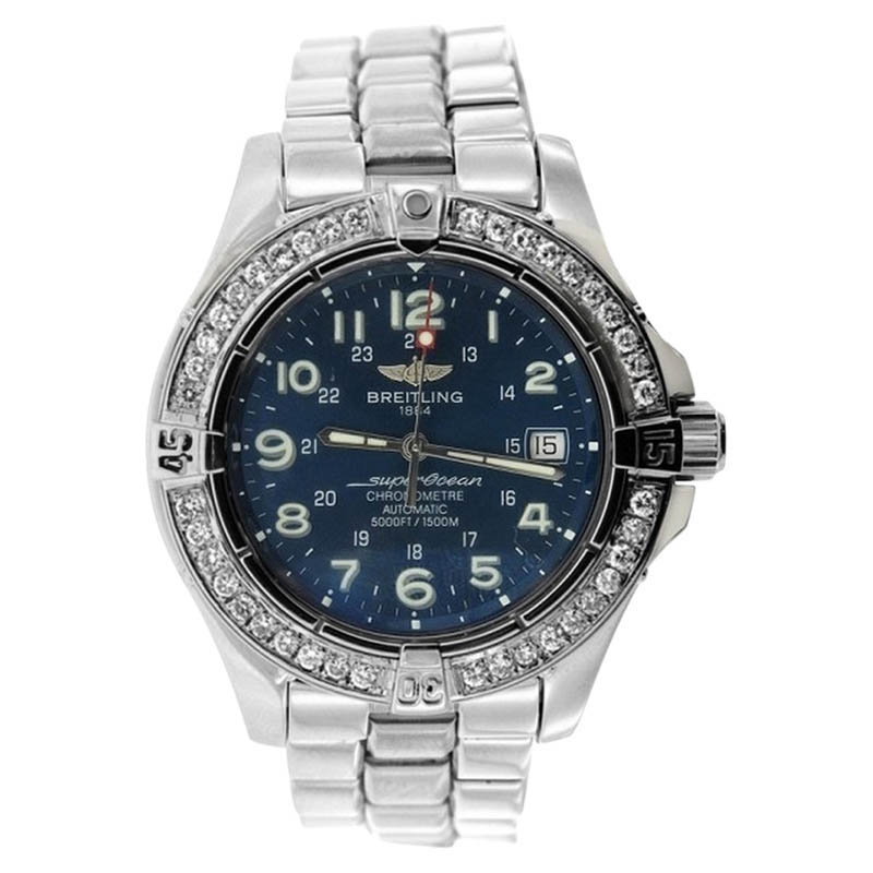 "Image of ""Breitling Superocean Stainless Steel and Diamond Watch"""