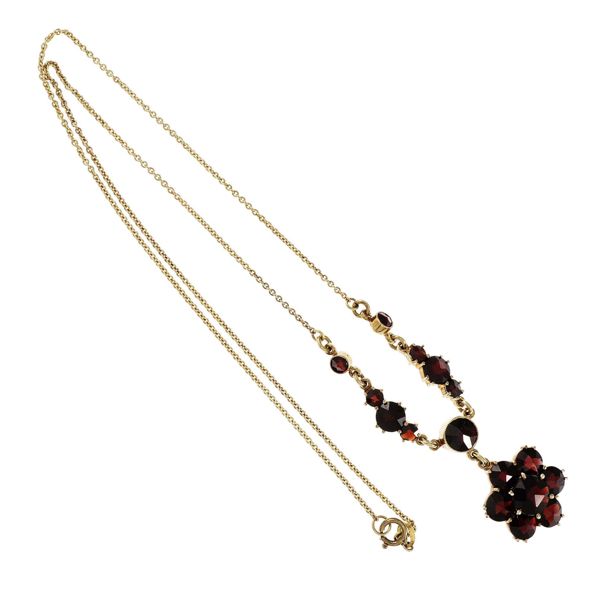 "Image of ""10K Yellow Gold Rose Cut Garnet Pendant Necklace"""
