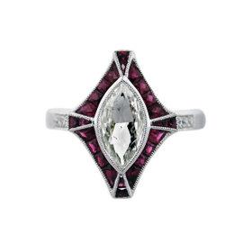 Platinum 1.07ct Diamond & 0.71ct Ruby Engagement Ring Size 6.5