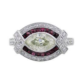 Platinum 1.29ct Diamonds & 0.33ct Ruby Engagement Ring Size 6.5