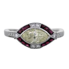 Platinum 1.07ct Diamond & 0.28ct Ruby Engagement Ring Size 6.5