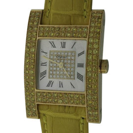 Chopard H 13/6818-45 18K Yellow Gold & Leather MOP & Diamond 24.5mm Watch