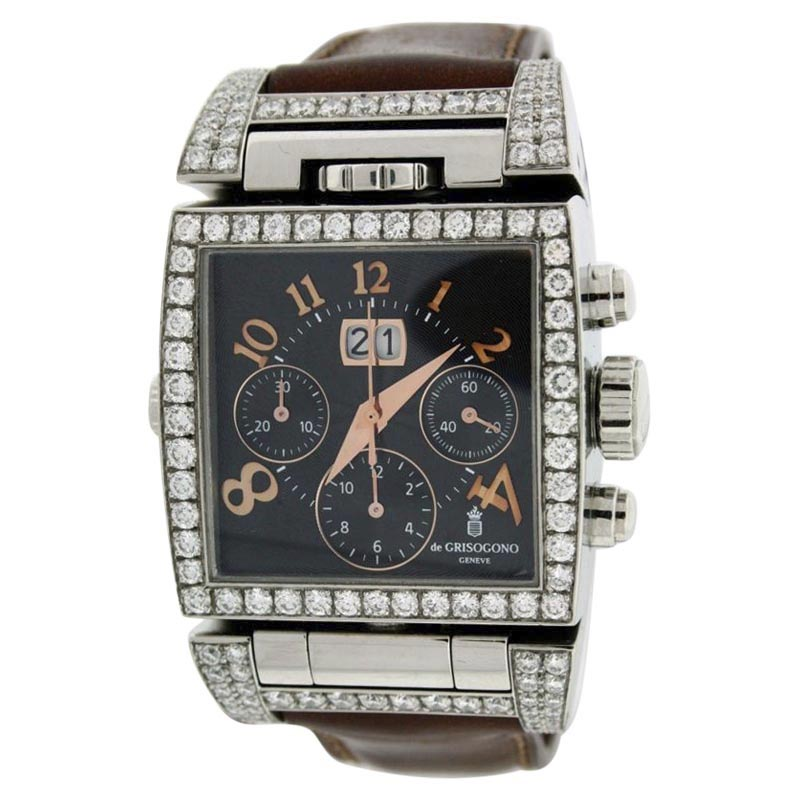 "Image of ""de Grisogono Doppio Stainless Steel Leather & Diamond 36mm x 60mm"""